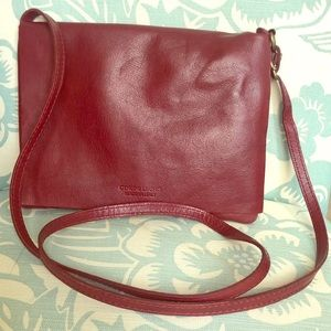 Handbags - Italian Leather Burgundy Wine Red Crossbody Bag